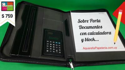 Porta Documentos con Calculadora y Block