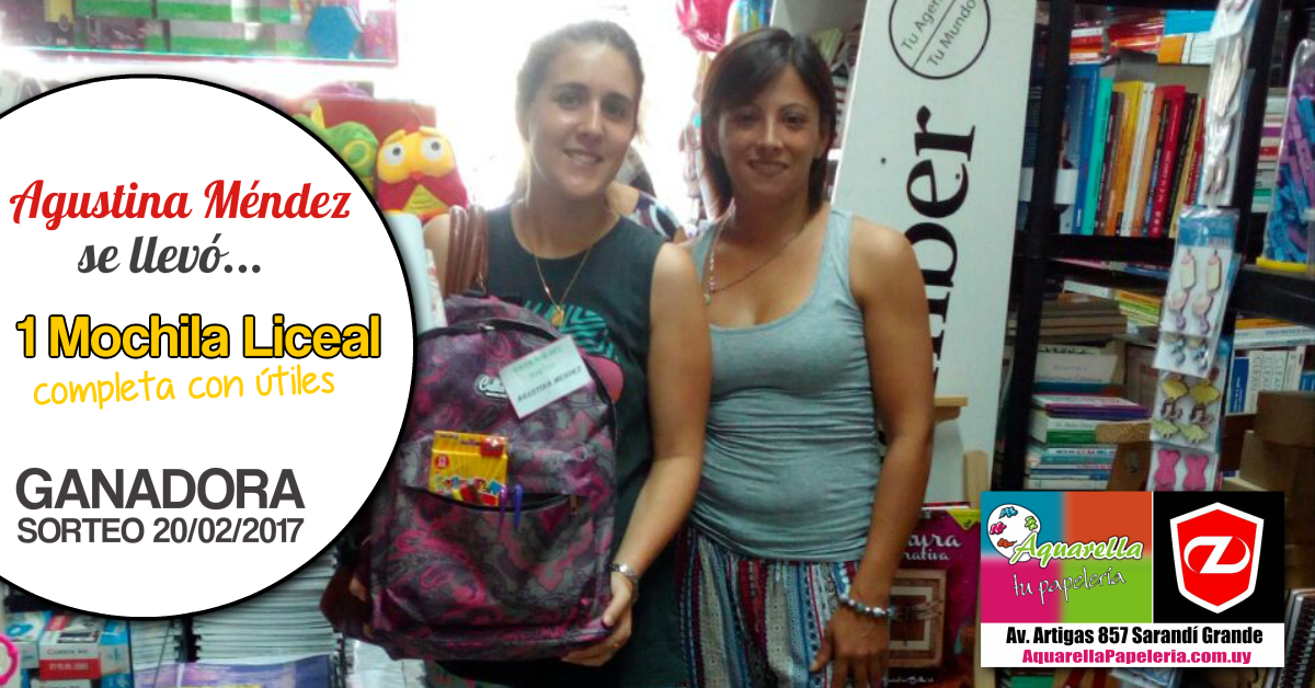 Agustina Méndez Ganadora Aquarella Tu Papelería y Zenit Sarandí Grande Febrero 2017
