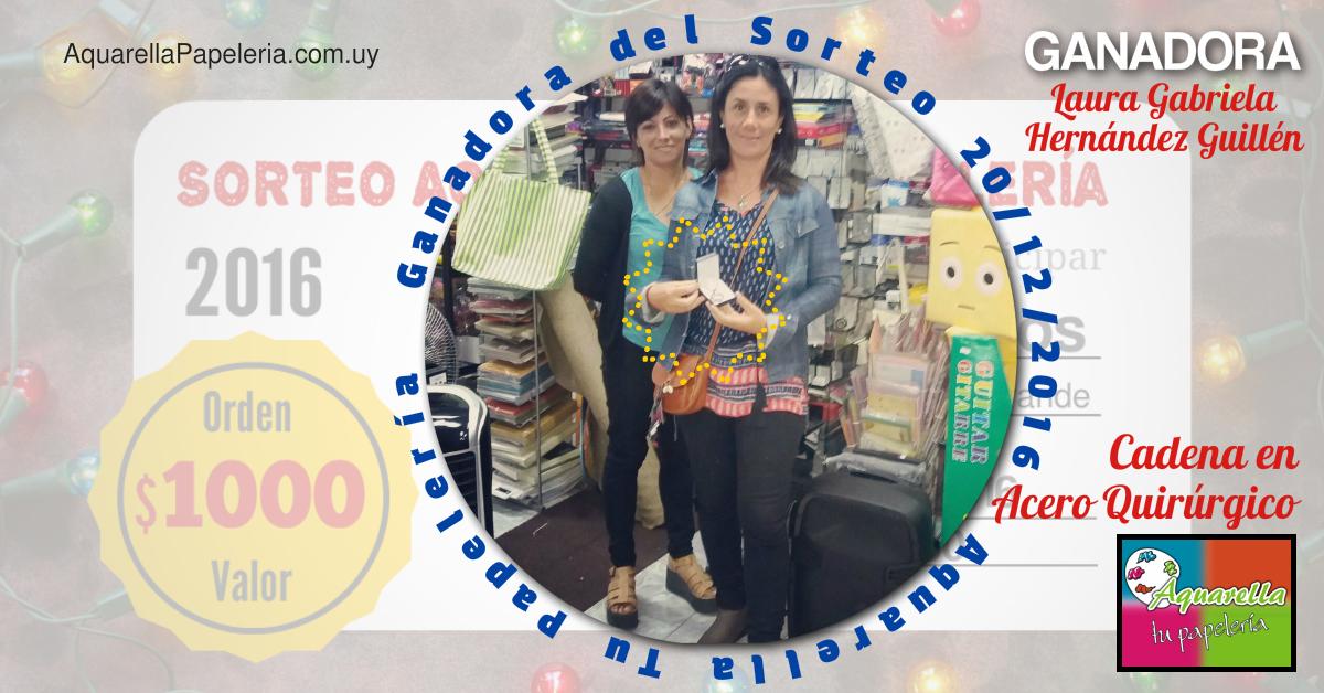Laura Hernández Ganadora Sorteo Diciembre 2016 Aquarella Tu Papelería
