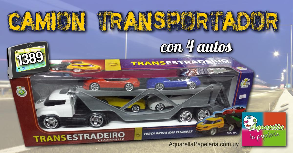 Camión transportador con 4 autos
